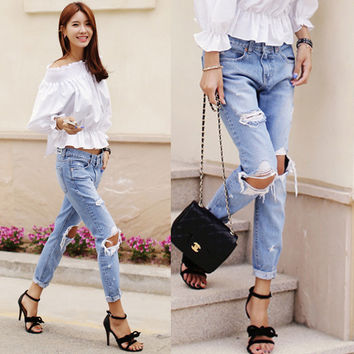 Ripped Hole Loose Slim Street Fashion Beggar Jeans