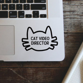 Cat Video Director Vinyl Decal Sticker - laptop stickers - car decal, laptop decal, car sticker - Cat Decal - Cat Sticker - Funny decal