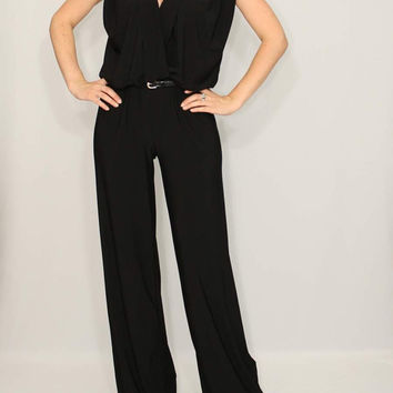 Black Jumpsuit / Straight Leg / Oversized Top for Women