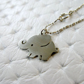 Elephant Necklace - Elephant Jewelry - Sterling Silver