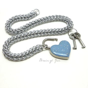 Locking Slave Collar Silver Aluminum with Sparkly Powder Blue Heart Shaped Padlock