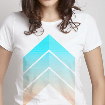 Pastel Chevron Tee - pastels pink blue light colors white mens womens clothes t shirt artsy print 100% organic cottton FREE shipping to USA