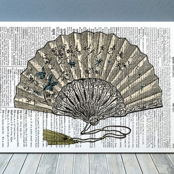 Fan print Antique art Dictionary poster Vintage print RTA1104
