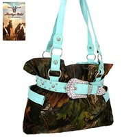 Heritage West Belted Rhinestone Camo Purse (Blue)