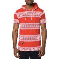 HOUNDS STRIPE HOODED TEE IN RED