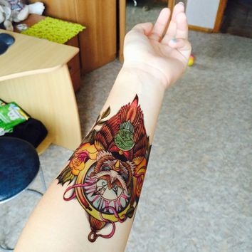 Cool Owl Temporary Tattoo
