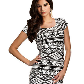 Black and White Geometric Print Striped Bodycon Mini Dress