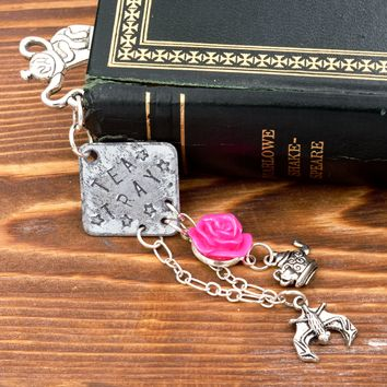 Alice in Wonderland Mad Tea Party Tea Tray Bookmark with Rose, Bat & Teapot Charms