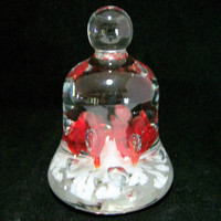 Blown Art Glass Floral Paperweight Red White Flower Clear Cased Glass Bell Shaped Paper Weight 1017