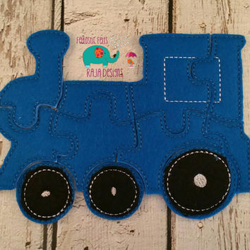 Felt train puzzle embroidered embroidery, jigsaw puzzle, learning toy, activity, quiet game, kids toys, montessori, homeschool, busy book