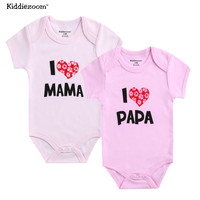2 Pcs/lot Newborn Baby Bodysuits Boy Girl Clothes I Love Papa Short Sleeve Cotton Infant Jumpsuit Next Baby Ropa Bebe Body Suits