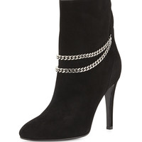 Saint Laurent Suede Chain-Strap Ankle Boot