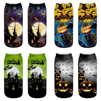2018 Hot 3D Printed Halloween Socks Happy Pumpkin lantern Witch Castle Cat Pattern Sox Cosplay Party Lover's gift