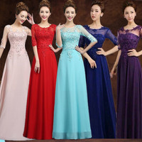 2016 Cheap Red Purple Pink Aqua Royal Blue Ice Blue Yellow Long Bridesmaid Dress Wedding Party Gowns Under 60