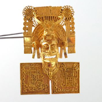 Vintage Ornate 18K Gold Aztec God Mask Pin Pendant