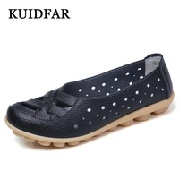 KUIDFAR 2017 Shoes Woman Genuine Leather Women Shoes Flats Colors footwear Loafers Slip On Women's Flat Shoes moccasins
