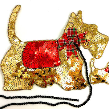 """Scottie Dog with Puppy Large Gold 8.5"""" x 11"""""""