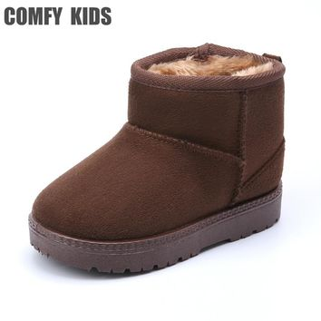 COMFY KID Winter Warm Child Snow Boots Shoes Plush Thicker Sole Boys Girls Snow Boots Shoes Size 22-33 Baby Toddler Shoes