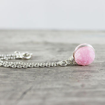 Light Pink Druzy Necklace, Sterling Silver Necklace, Wire Wrap Necklace, Circle Pendant Necklace, Blush Pink Necklace, Druzy Quartz Gemstone