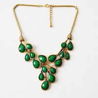 Vine Dew Drop Bib Statement Necklace in Emerald/Azure/Berry
