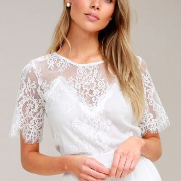 Pure Genius Sheer White Lace Top