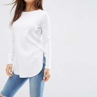 ASOS Long Sleeve Top with Side Splits and Curve Hem at asos.com