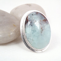 Sterling Silver Ring Blue Brown Chrysoprase Large Oval Stone One of a Kind Jewelry Size 7 - Tide Pool