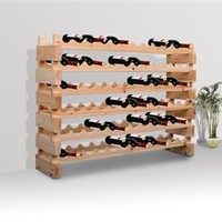 Rustic Wood Wine Rack - 72 Bottles