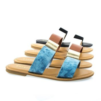 Seashore62s By Bamboo Women's Flat Strappy Sandal W Double Strap & Adjustable Ankle Strap