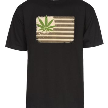 Mens Marijuana United States Flag Short-Sleeve T-Shirt