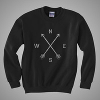 Compass unisex crew neck sweatshirt by coyotealert on Etsy