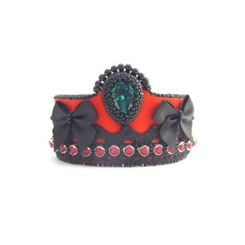 Statement leather suede bracelet cuff, bead embroidery cuff, Swarovski, lace, red, black