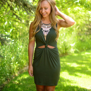 Knot Giving Up Dress- Olive