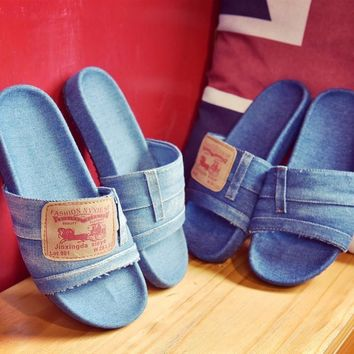 European famous brand woman flip flops luxury design denim sandals beach shoes woman s