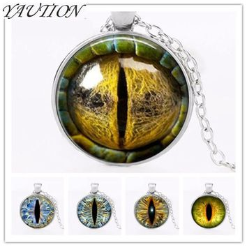 2018 fashion Dragon Eye pendant personality cat eyes color art photo Charms for collars Eye glass dome pendant statement jewelry