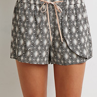 Abstract Print Tulip-Front Shorts