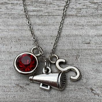 Personalized Cheer Megaphone Necklace with Initial & Birthstone