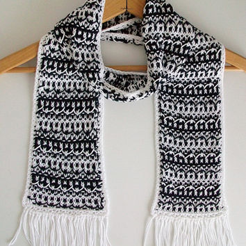Black White Knitted Scarf Vegan Mosaic Fringed Scarf Boho Exotic Moroccan Style