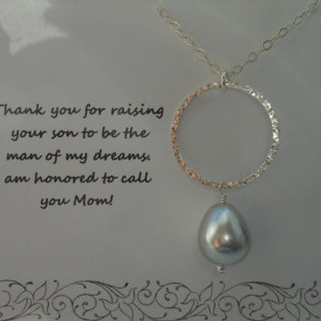 Mother of the Groom Gift, Eternity Necklace, Teardrop Pearl Necklace, Mother in Law Gift, Wedding, Sterling Silver, Bridal Jewelry
