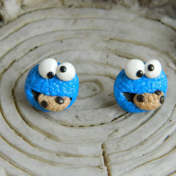Cookie Monster Studs by DaintyGeekery on Etsy