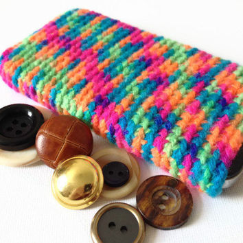 iPhone 5 Sock, IPhone 4s Case, Rainbow Phone Sleeve, Hand Crocheted, Multi coloured Cell Cozy