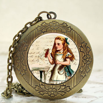 Locket - Antique Bronze Photo Art Locket - Alice Drink Me Locket with Necklace and Matching Gift Tin