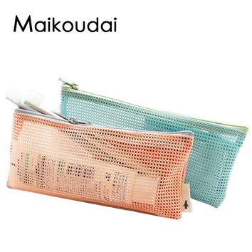 Maikoudai Women Mesh Cosmetic Toilet Pouch Bags Travel Laundry Washing Storeage Cases For Travel Ladies Makeup bag