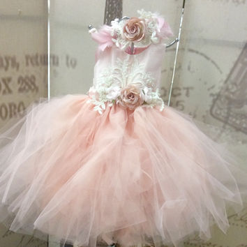 """Abigail"" Baby infant flower girl couture tutu dress"