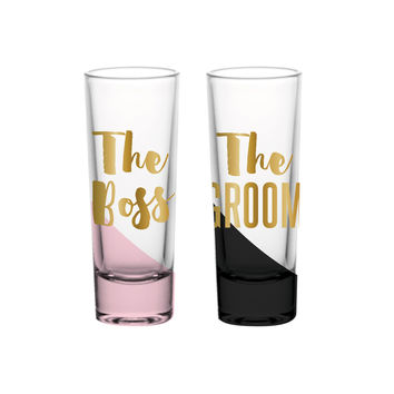 """SLANT COLLECTIONS """"THE BOSS THE GROOM"""" 2OZ SHOT GLASS S/2"""