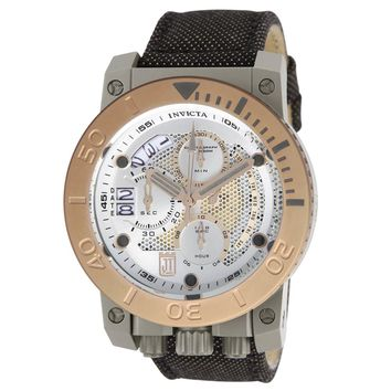 Invicta 13050 Men's Jason Taylor Corduba Rose Gold Bezel Silver Dial Chronograph Dive Watch