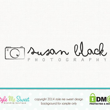 Premade Camera Logo Photography Logo Small Business Branding Logo Hand Drawn
