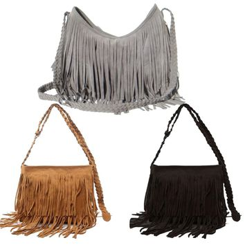 2017 Fashion Women's Suede Weave Tassel Shoulder Bag Messenger Bag Fringe Handbags LXX9