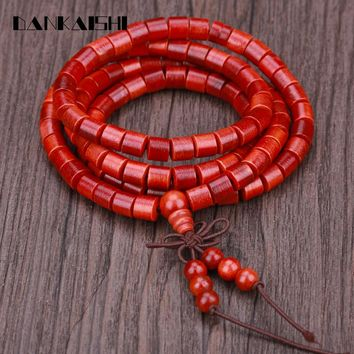 Dankaishi Red Blood Dragon Wood Hand String Bracelets Women Men Beads Bracelets Meditation Prayer Long Bangle DKSFZ023