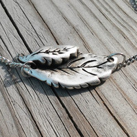Antiqie Finish Silver Leaf Necklace, Metal Leaves Necklace, Antique Chain Necklace